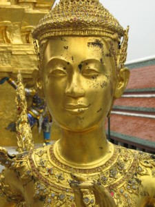 This Thailand temple guardian appears tarnished by time but resolute in tradition.